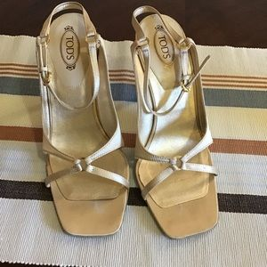 Tod's Gold Satin Heels size 7.5